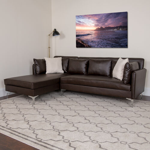 Our Back Bay Upholstered Accent Pillow Back Sectional with Left Side Facing Chaise in Brown LeatherSoft is on sale now.