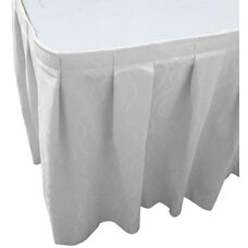 Wave 21 Foot Boxed Pleat Table Skirt with SnugTight™ Clips - White