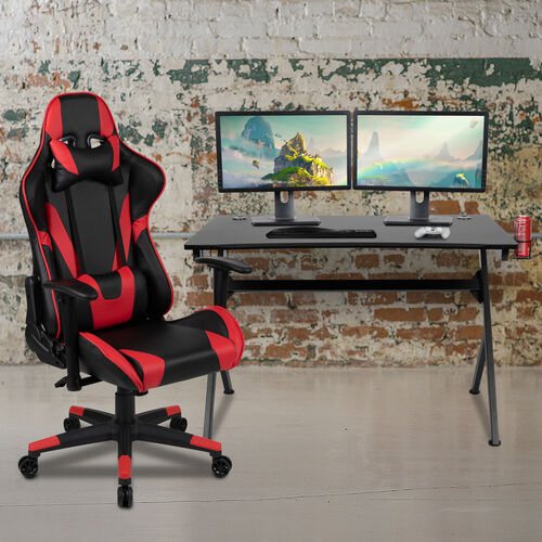 BlackArc Black Gaming Desk and Red/Black Reclining Gaming Chair Set with Cup Holder, Headphone Hook & 2 Wire Management Holes