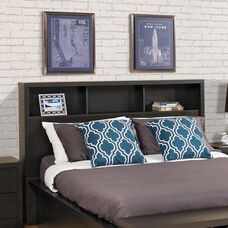 District Double/Queen Size Headboard with 3 Storage Compartments - Washed Ebony