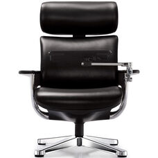 Nuvem Leather Office Chair with Footrest and Built in Laptop Holder - Black