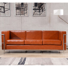 HERCULES Regal Series Contemporary Cognac LeatherSoft Sofa with Encasing Frame