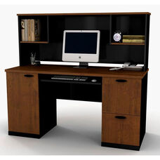 Hampton Credenza and Hutch with Filing Drawer and Keyboard Shelf - Tuscany Brown and Black