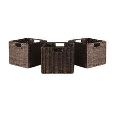 Granville 3-Pc Small Foldable Corn Husk Baskets in Chocolate