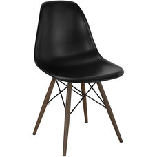 Trige Mid Century Black Side Chair with Walnut Wood Base - Set of 5