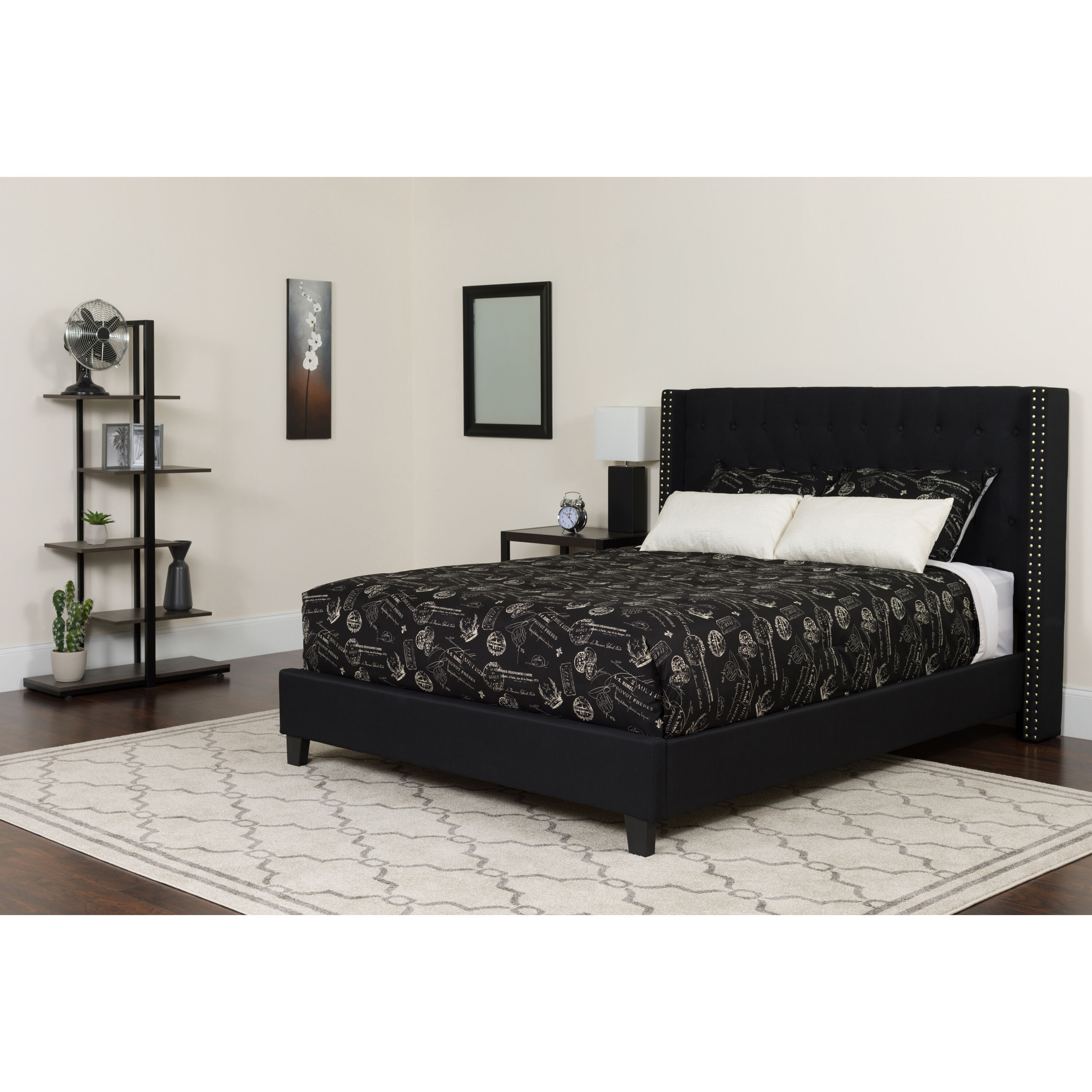 ... Our Riverdale Queen Size Tufted Upholstered Platform Bed In Black  Fabric With Pocket Spring Mattress Is ...