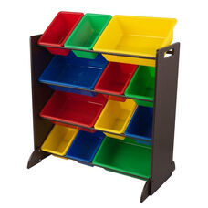 Sort It and Store It 12 Primary Color Plastic Bins with 4 Shelves Storage Unit - Espresso
