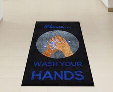 """""""Please Wash Your Hands"""" Message Floor Mat - 59""""W x 35""""D"""