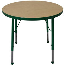 Adjustable Standard Height Laminate Top Round Activity Table - Maple Top with Dustin Green Edge and Legs - 42