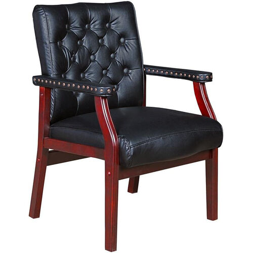 Ivy League Tufted Back Traditional Guest Chair - Black Vinyl