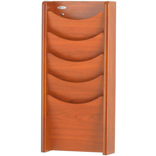 Wood Five Pocket Wall Mount Literature Display - Cherry