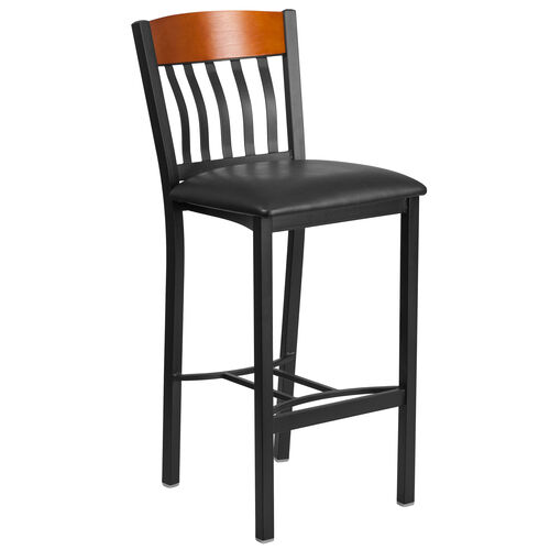 Our Vertical Back Black Metal and Cherry Wood Restaurant Barstool with Black Vinyl Seat is on sale now.