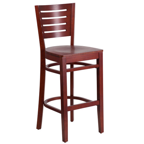 Our Mahogany Finished Slat Back Wooden Restaurant Barstool is on sale now.