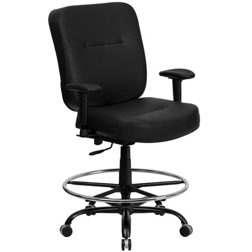 Our HERCULES Series Big & Tall 400 lb. Rated Black Leather Ergonomic Drafting Chair with Adjustable Arms is on sale now.