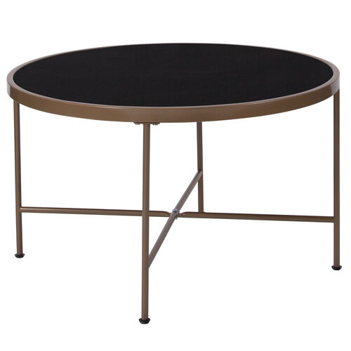 Chelsea Collection Black Glass Coffee Table with Matte Gold Frame
