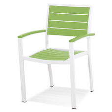 POLYWOOD® Euro Dining Arm Chair - Satin White / Vibrant Lime