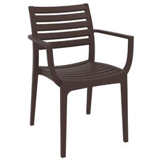 Artemis Resin Outdoor Stackable Dining Arm Chair - Brown