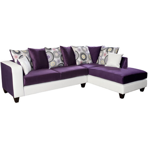 Our Riverstone Implosion Purple Velvet Sectional with Right Side Facing Chaise is on sale now.
