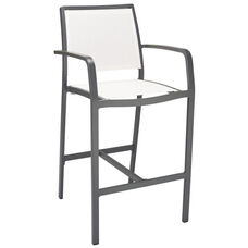 South Beach Collection Aluminum Outdoor Barstool with Arms and Textile Back - White