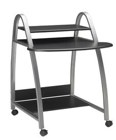 Mobile Arch Computer Desk with Bottom Printer Shelf - Anthracite