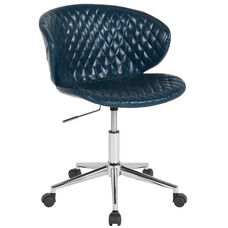 Cambridge Home and Office Upholstered Low Back Chair in Blue Vinyl