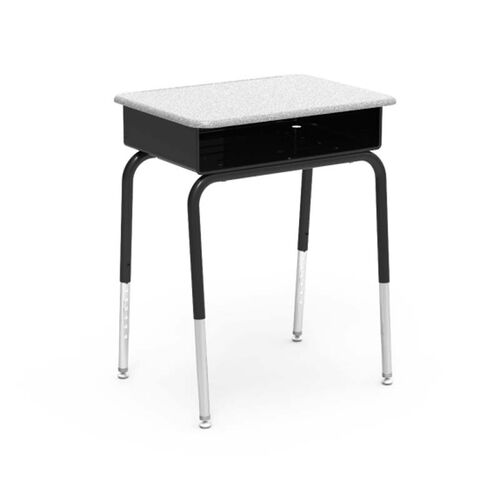 Our 785 Series Hard Plastic Gray Nebula Top Student Desk with Black Open Front Metal Book Box and Legs - 18
