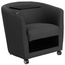 Charcoal Gray Fabric Guest Chair with Tablet Arm, Front Wheel Casters and Under Seat Storage