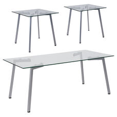 Roxbury Collection 3 Piece Coffee and End Table Set with Glass Tops and Silver Metal Legs