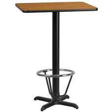 24'' x 30'' Rectangular Natural Laminate Table Top with 22'' x 22'' Bar Height Table Base and Foot Ring