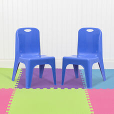 """2 Pack Blue Plastic Stackable School Chair with Carrying Handle and 11"""" Seat Height"""