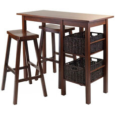 Egan 5-Pc Breakfast Table with 2 Baskets and 2 Saddle Seat Stools