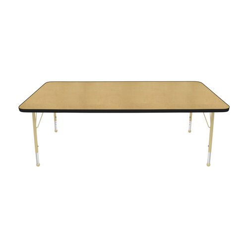 Our Adjustable Standard Height Laminate Top Rectangular Activity Table - Maple Top with Black Edge and Legs - 72
