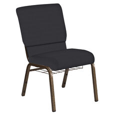 Embroidered 18.5''W Church Chair in Illusion Chic Silver Fabric with Book Rack - Gold Vein Frame