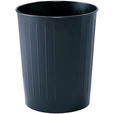 Round 23.50 Qt Puncture Resistant Wastebasket with a Durable Powder Coat Finish - Set of Six - Black