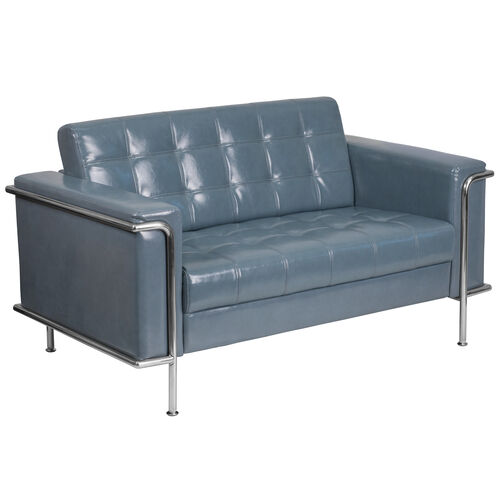 Our HERCULES Lesley Series Contemporary Gray Leather Loveseat with Encasing Frame is on sale now.