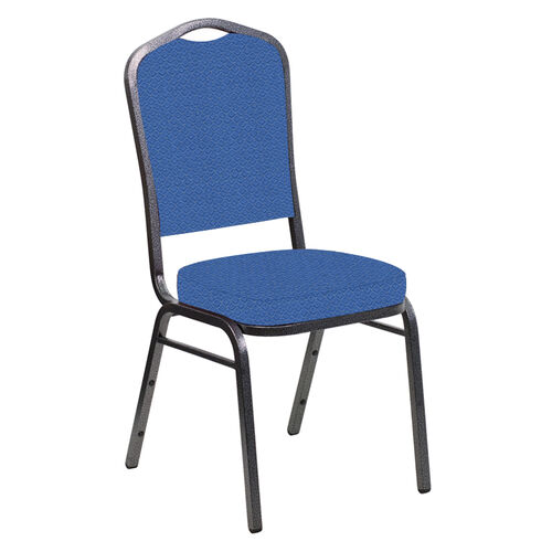 Our Embroidered Crown Back Banquet Chair in Venus Patriot Blue Fabric - Silver Vein Frame is on sale now.