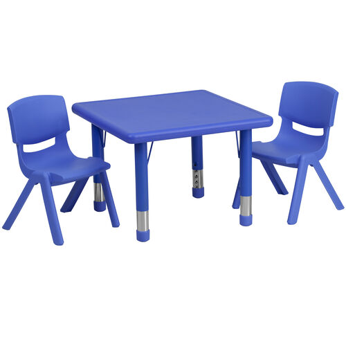 "Our 24"" Square Plastic Height Adjustable Activity Table Set with 2 Chairs is on sale now."
