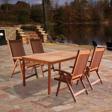 Malibu Outdoor 5 Piece Wood Dining Set with Table and 4 Folding Armchairs