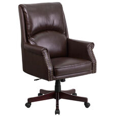High Back Pillow Back Brown LeatherSoft Executive Swivel Office Chair with Arms