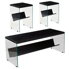 Highwood Collection 3 Piece Coffee and End Table Set in Dark Ash Finish with Glass Frames