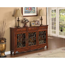 Three Drawer and Three Door Console - Cherry