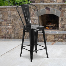 "Commercial Grade 24"" High Black Metal Indoor-Outdoor Counter Height Stool with Removable Back"