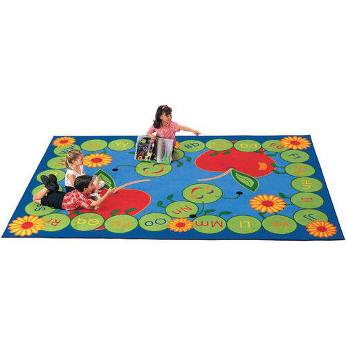 Our ABC Caterpillar Storytime Rectangular Nylon Rug - 53