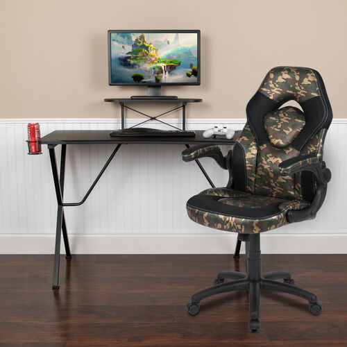 Our BlackArc Black Gaming Desk and Camouflage/Black Racing Chair Set with Cup Holder, Headphone Hook, and Monitor/Smartphone Stand is on sale now.
