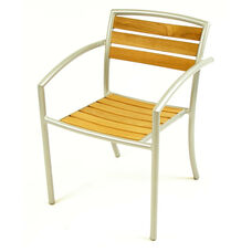 Curacao Indoor/ Outdoor Teak Stackable Arm Chair with Welded Aluminum Frame