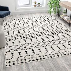 Geometric Bohemian Low Pile Rug - 8' x 10' - Ivory/Black