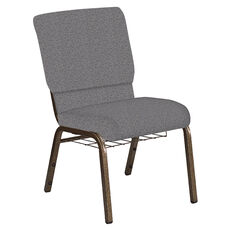 18.5''W Church Chair in Ribbons Fog Fabric with Book Rack - Gold Vein Frame