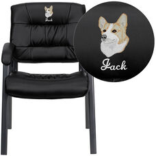 Embroidered Black Leather Executive Side Reception Chair with Titanium Frame Finish