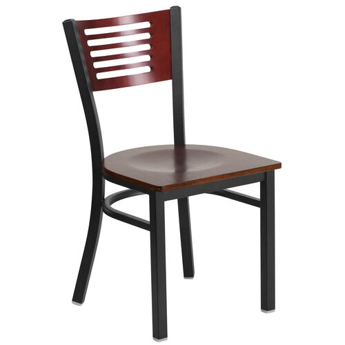 Our Black Decorative Slat Back Metal Restaurant Chair with Mahogany Wood Back & Seat is on sale now.