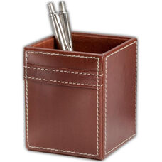 Rustic Leather Pencil Cup - Brown